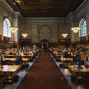Students study at the library in New York