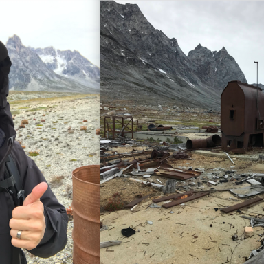 Gy exploring an abandoned WWII airstrip in remote greenland