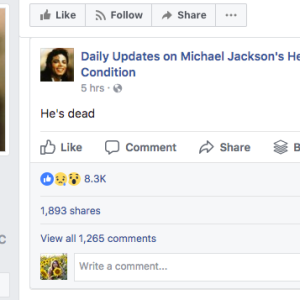This Facebook Page Has Been Giving Daily Updates On 'Michael Jackson's Health Condition' For Nearly A Year