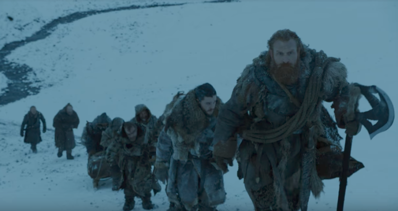 Jon Snow and other characters in winter in Game of Thrones season 7 episode