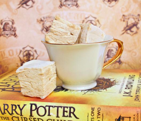 A teacup full of Butterbeer Marshmallows on XO Marshmallow's Website