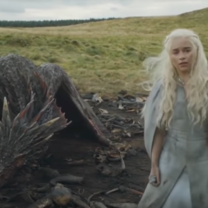 Danyeris and her dragon in Game of Thrones