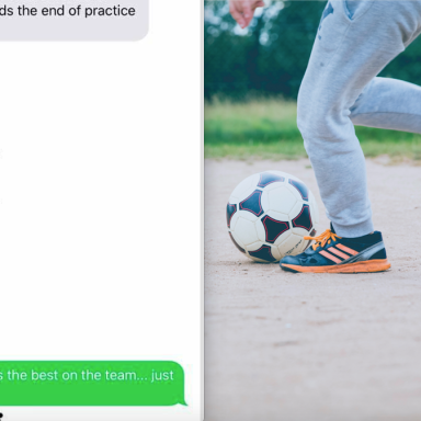 a group chat with soccer moms and a boy playing soccer
