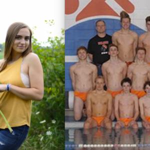 Eleanor's senior photos and the swim team photo