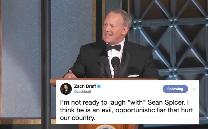 Sean Spicer Roasted Trump At The 2017 Emmys But People On Twitter Didn't Think It Was Very Funny