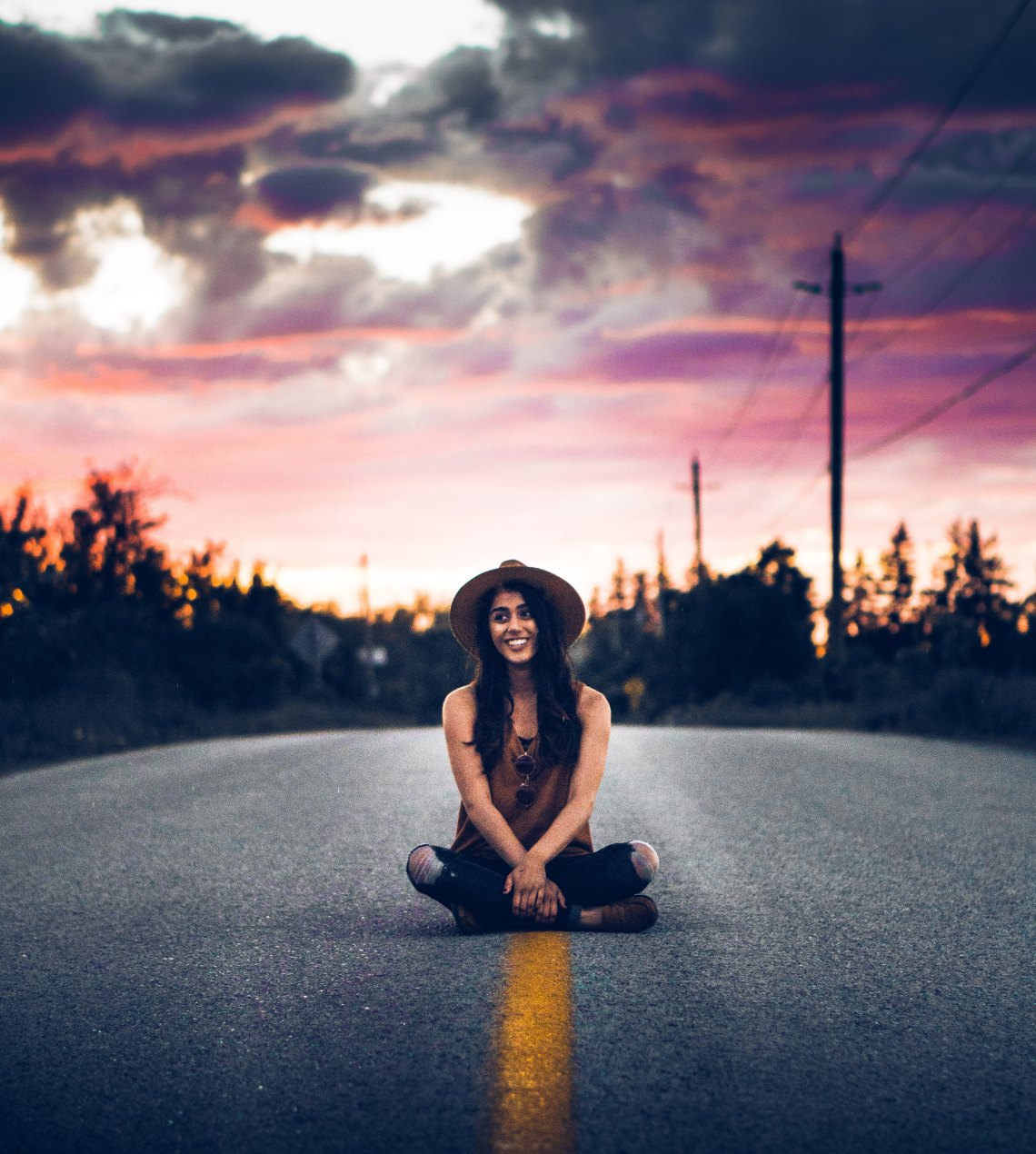 girl sitting on the street, happiness, unconditional happiness