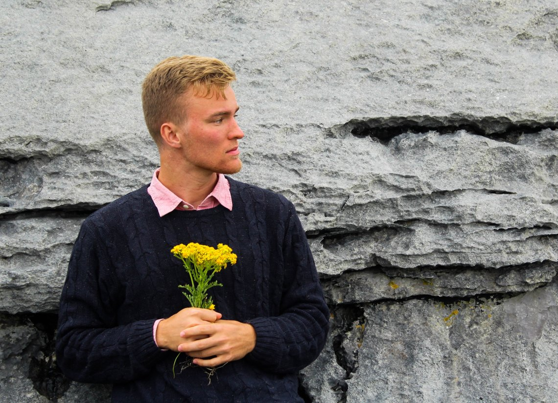 A boy with flowers