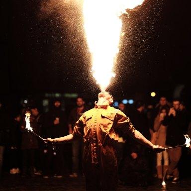 Man breathing fire