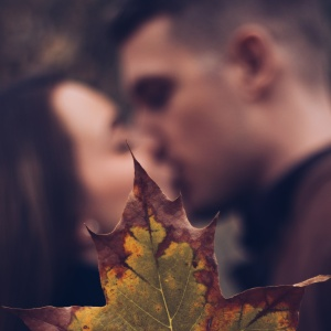 couple kissing with leaf, happy couple, loving you, forever love