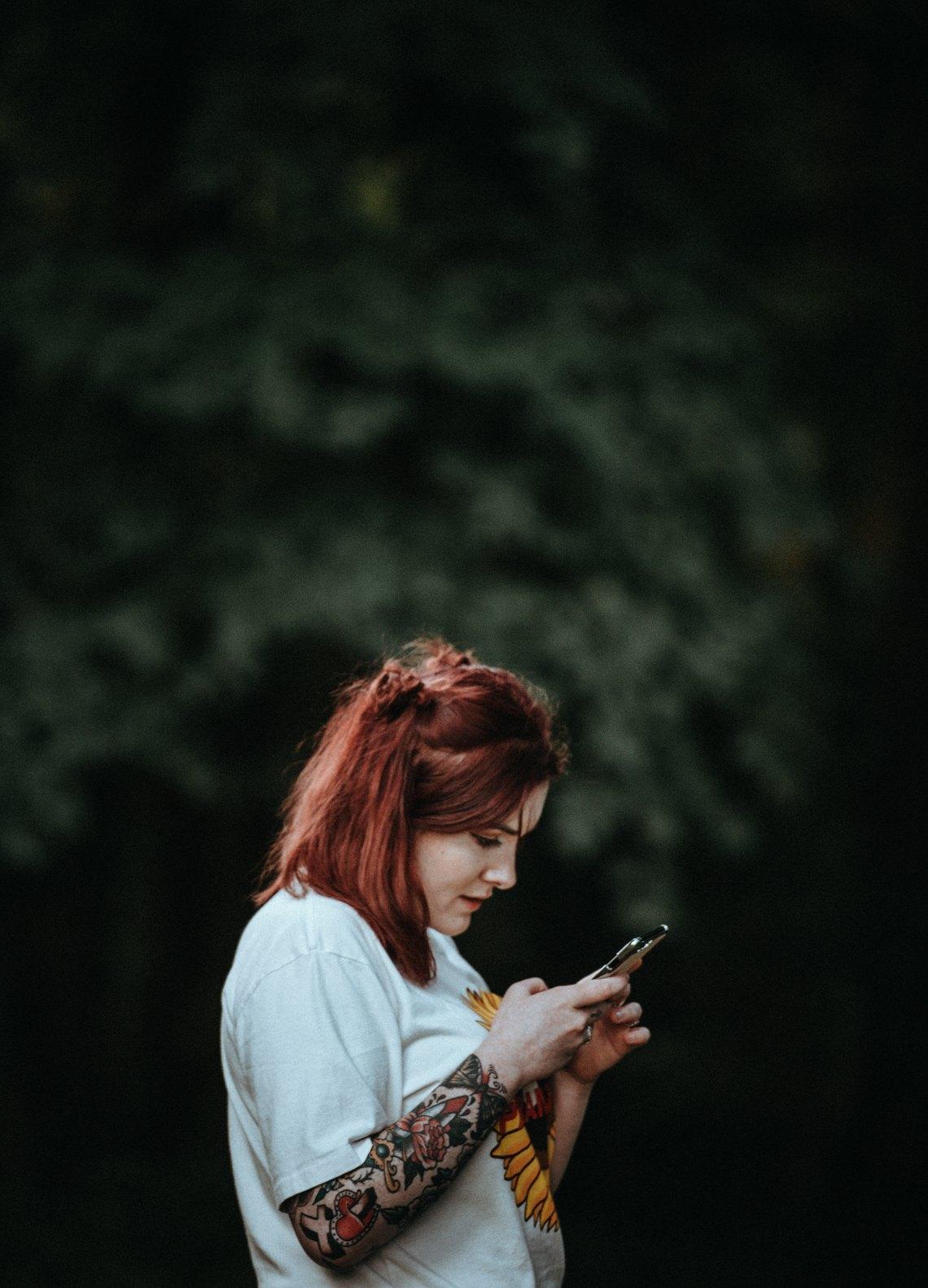 Girl snooping through phone