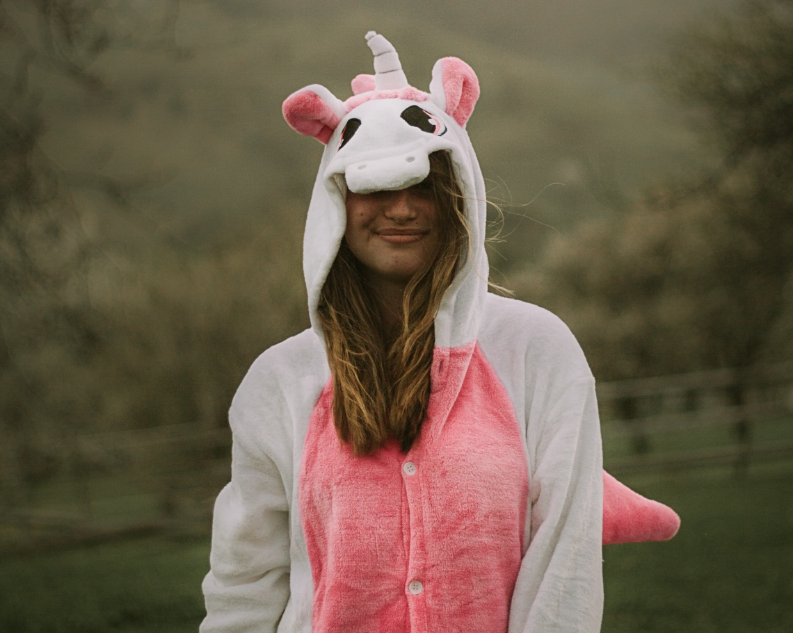 girl in unicorn costume, don't take life so seriously