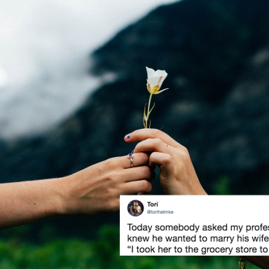 A couple holding a flower together and a cute tweet
