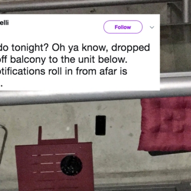 a woman dropped her iphone on her neighbor's balcony