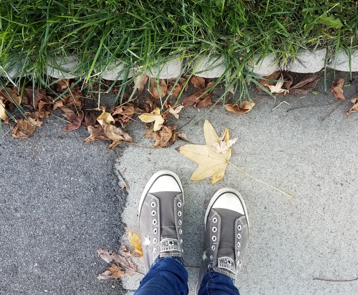 feet on path with leaf, fall leaves, acceptance, accepting nature of things