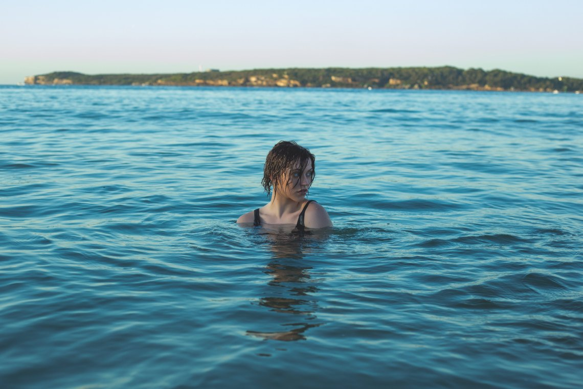 Woman alone in water