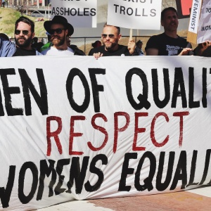 Men of quality respect women's equality sign