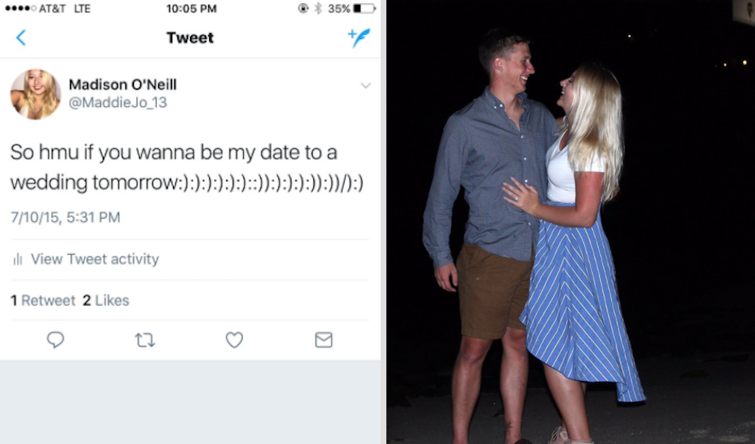 The woman who asked Twitter for a wedding date and her date, who she would later marry