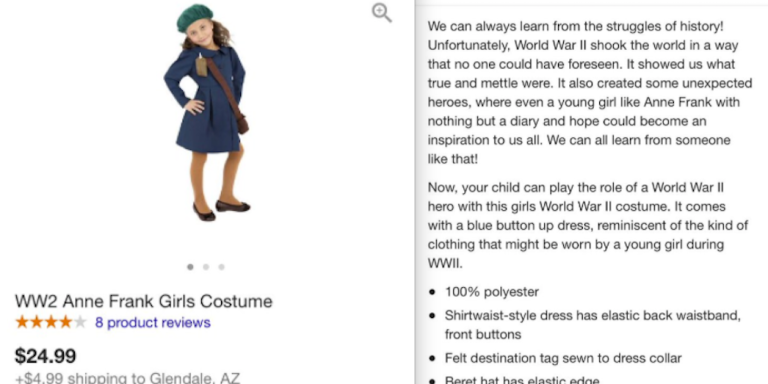 Someone Was Stupid Enough To Try To Sell An Anne Frank Halloween Costume And Now People ArePissed
