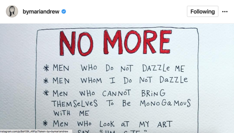 A list of things this artist won't put up with anymore