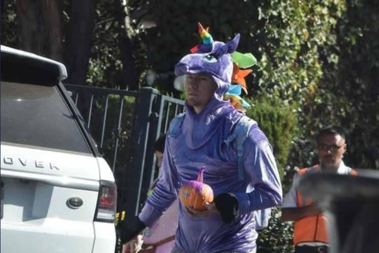 Channing Tatum wears a unicorn costume for his daughter's pre-school Halloween party