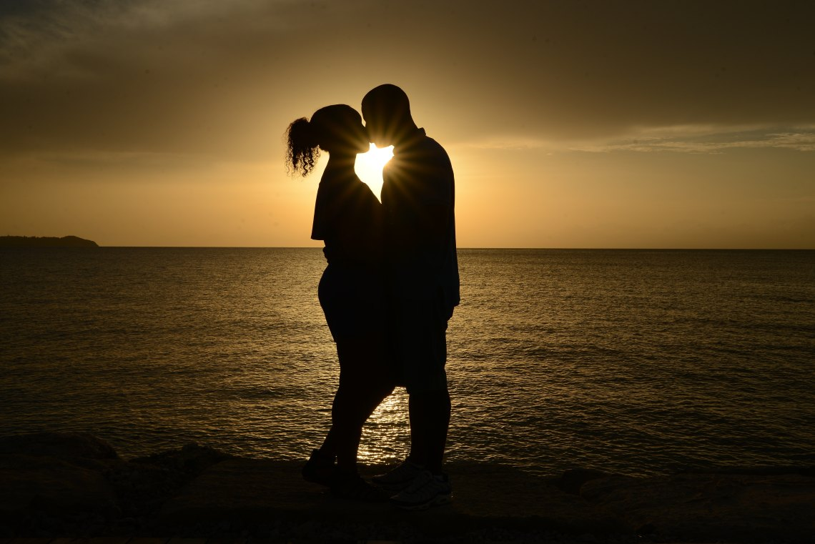 couple hugging, sunset, no man will dim your light
