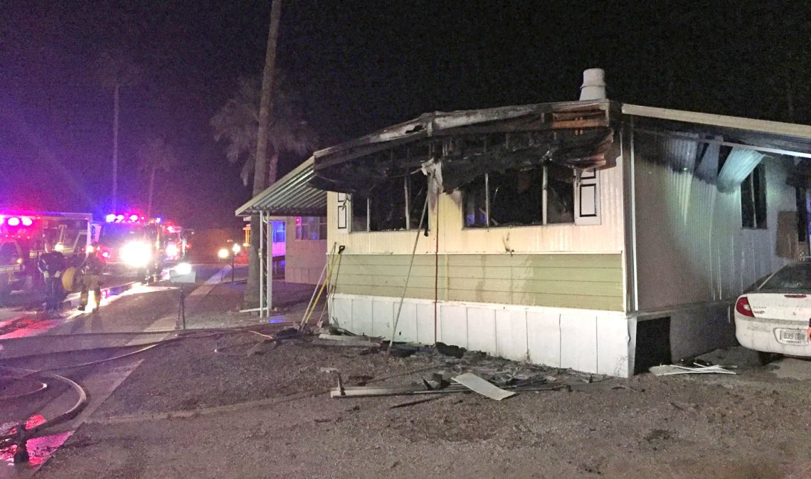 Mobile home on fire after a man tried to kill a spider with a blowtorch