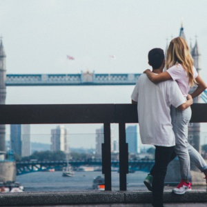 couple on a bridge