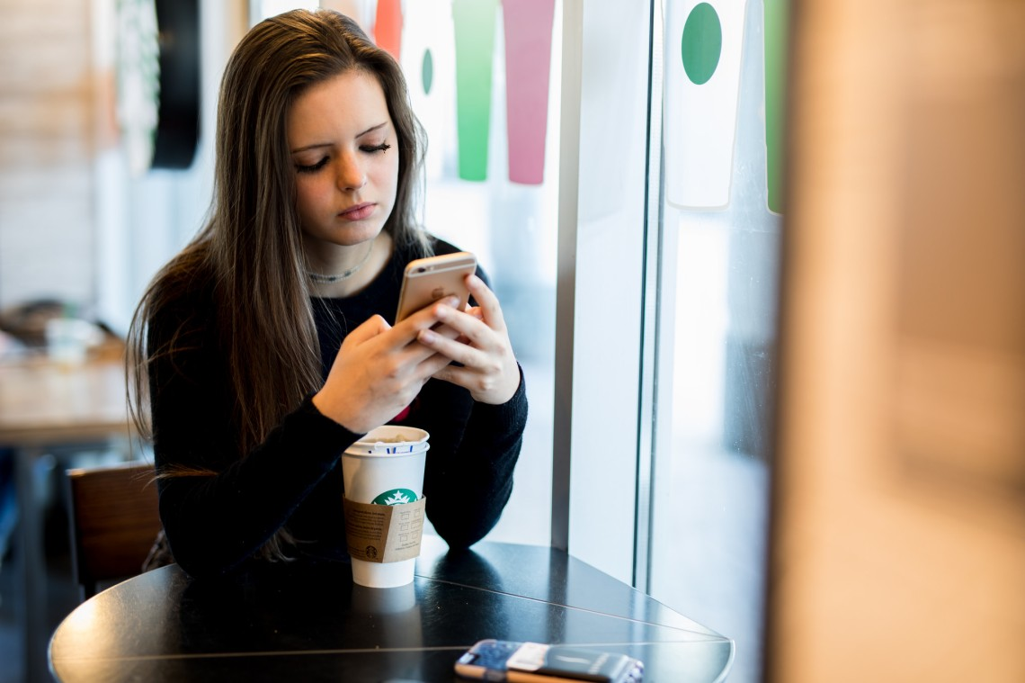 Girl waiting for a text back