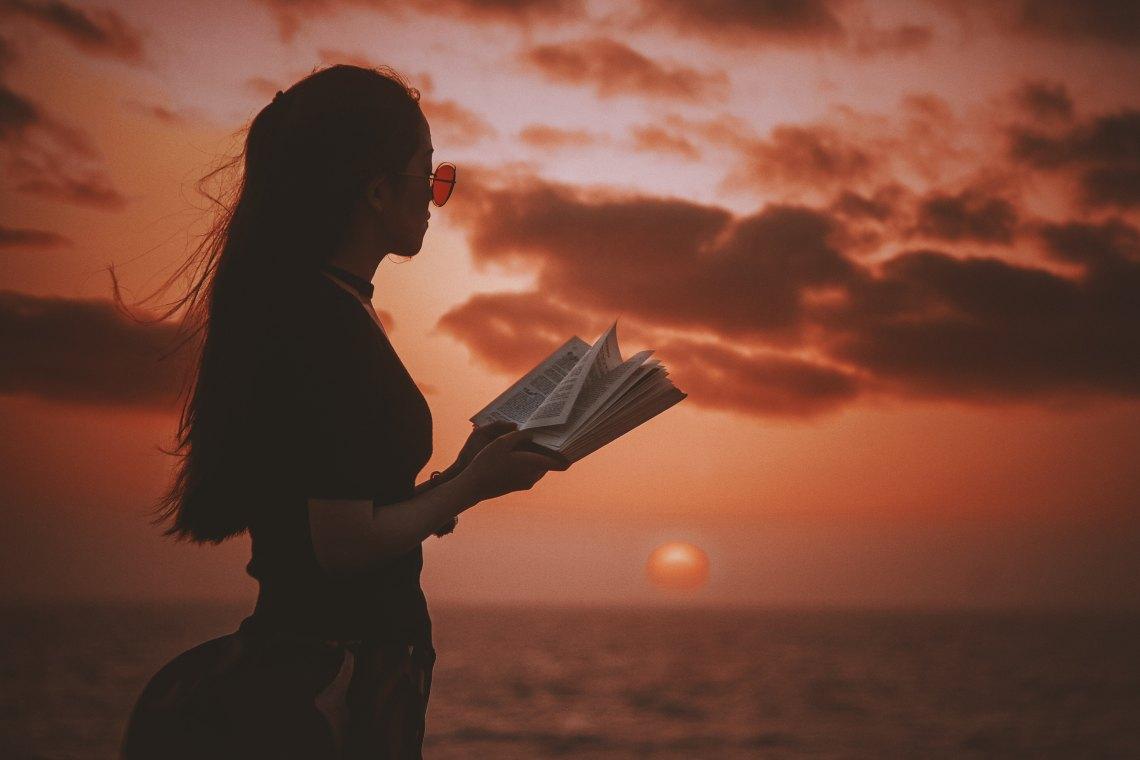 Girl reading disturbing books