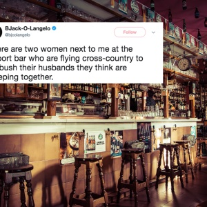 A bar and a tweet about the two women plotting to catch their cheating husbands