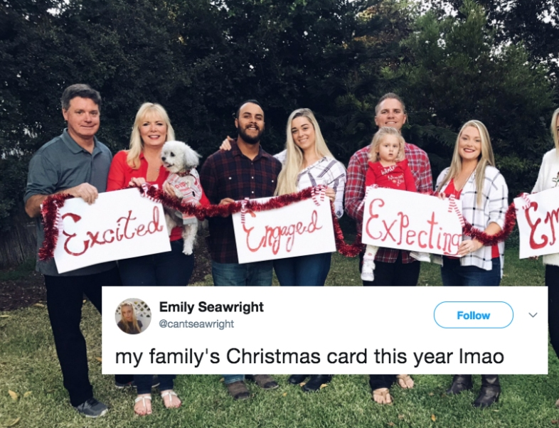 A Family Christmas card with an engaged couple, an expecting couple, excited parents, and a single daughter
