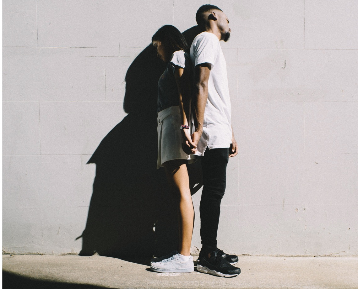 couple, back to back couple, loving myself, love myself in spite of you,, unhealthy relationships