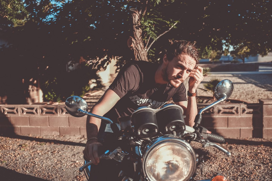 Handsome man on motorcycle