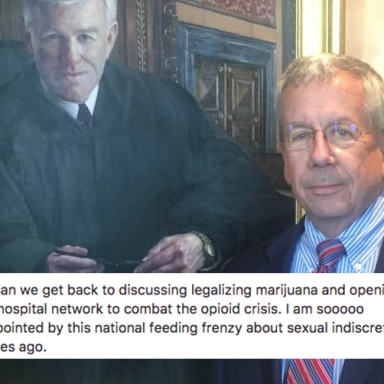 Bill O'Neill in front of a portrait of a supreme justice judge and a clip of his facebook post