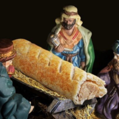 Greggs ad replacing Baby Jesus with a sausage roll