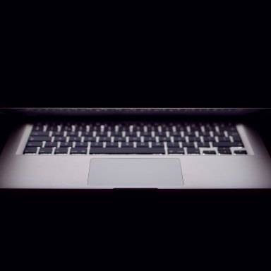 Mac computer in the dark
