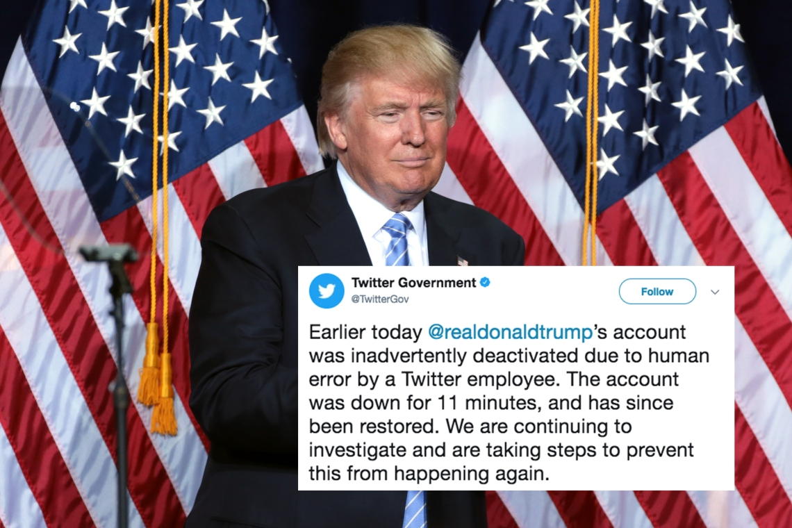 Tweet about Donald Trump's Twitter account being deactivated