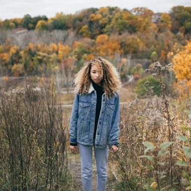 sad girl in meadow