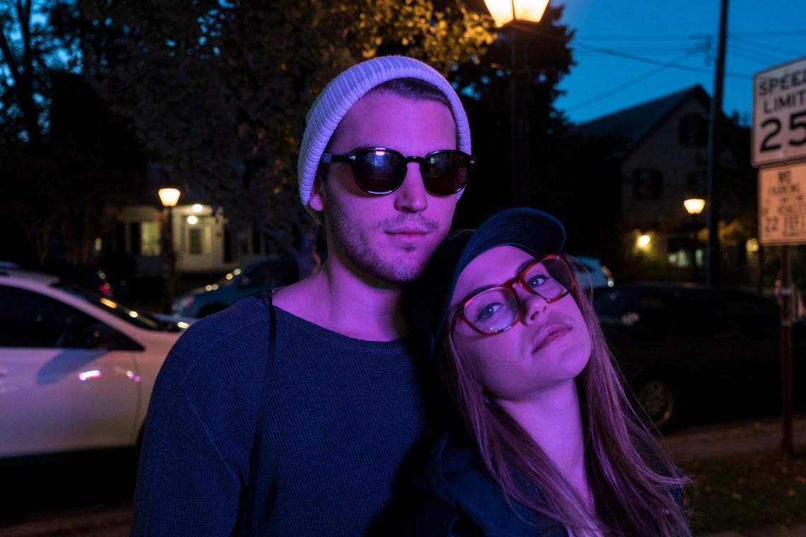 purple light and a cute couple