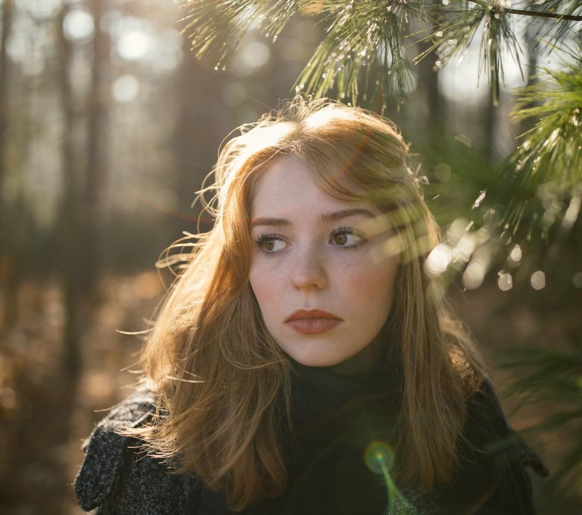 girl in forest, pensive girl thinking, God be my foundation, faith in God, Christian faith