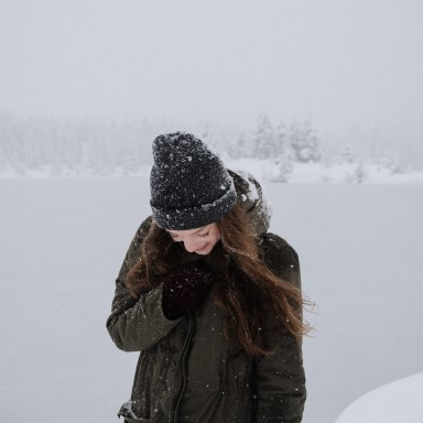 woman standing in winter