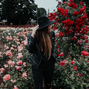woman amongst the roses