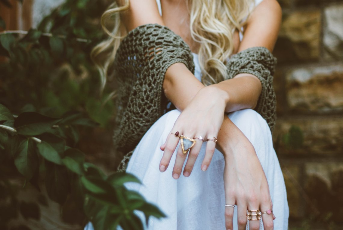 girl with a bunch of rings