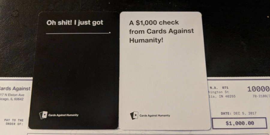 'Cards Against Humanity' Surprised Some Of Its Customers With $1,000 Checks For This Amazing Reason