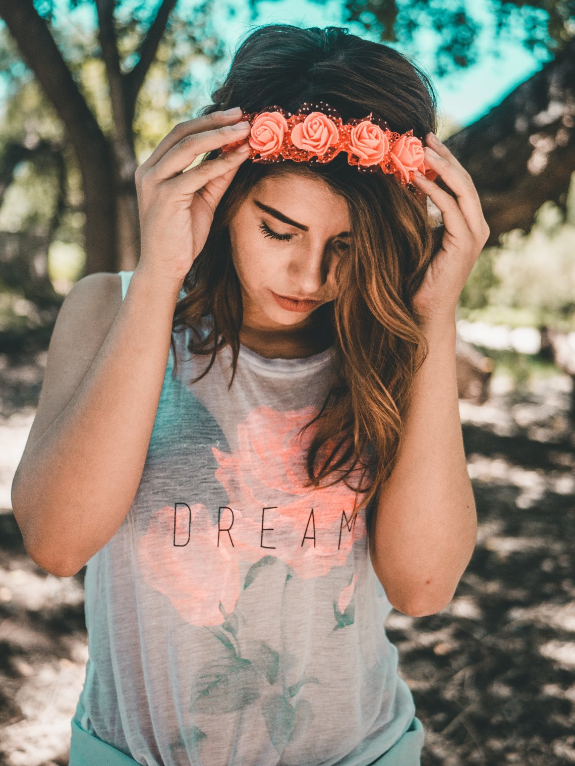 girl in a flower crown