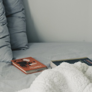 books on a bed