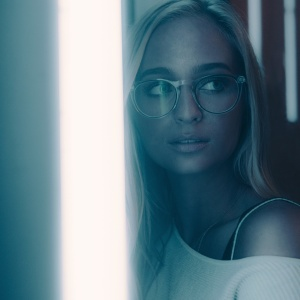 girl glasses neon light