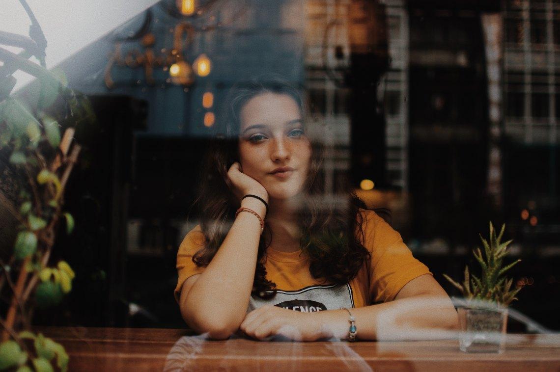 A girl in a window