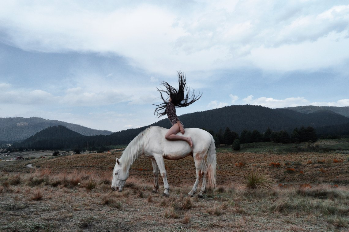 woman flipping her hair on a white horse
