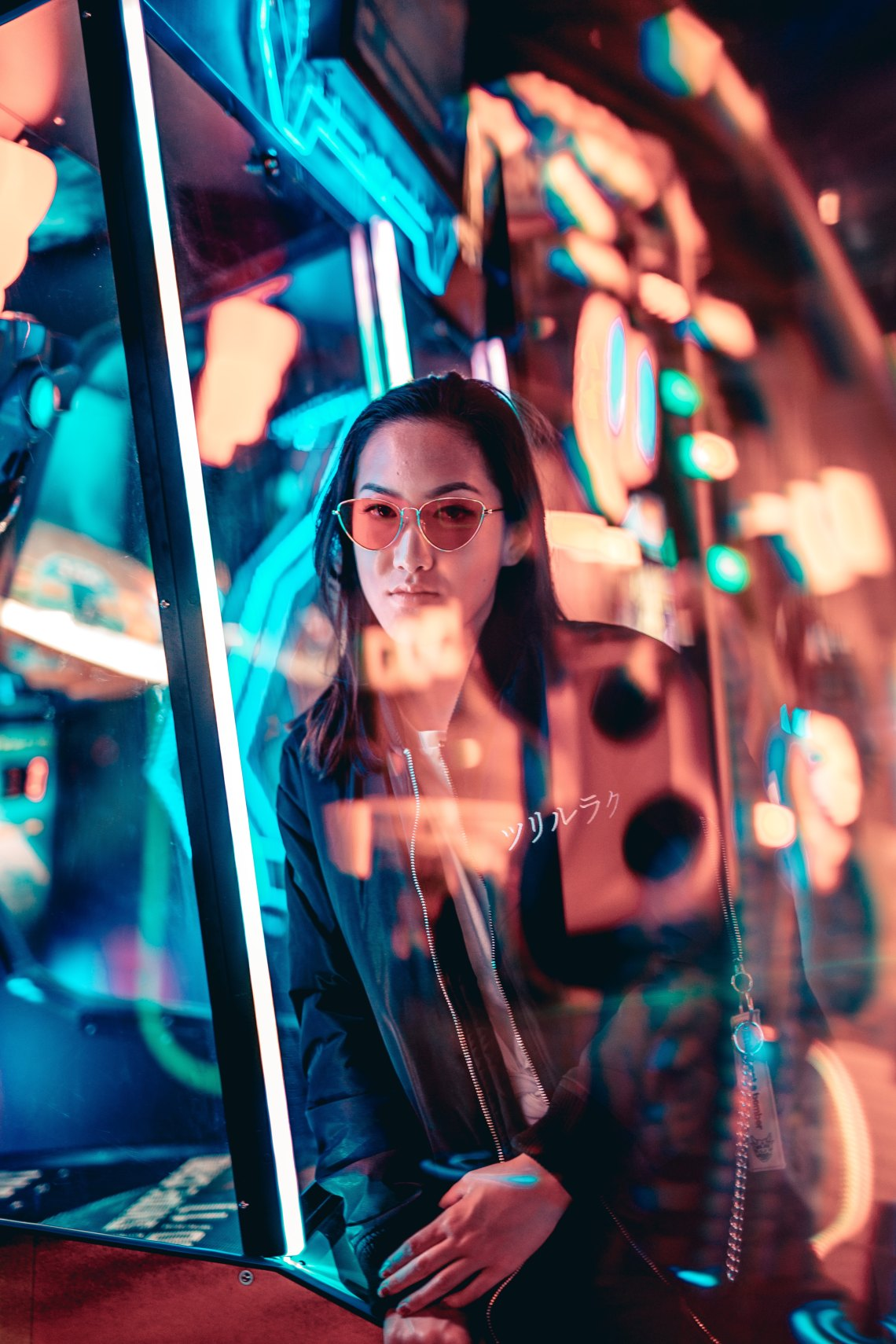 girl surrounded by neon